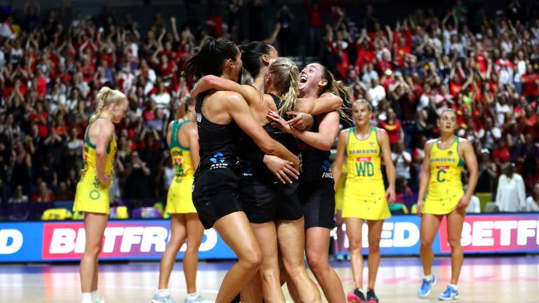 The New Zealand team celebrate together after winning The Final of The Vitality Netball World Cup between New Zealand and Australia at M&S Bank Arena