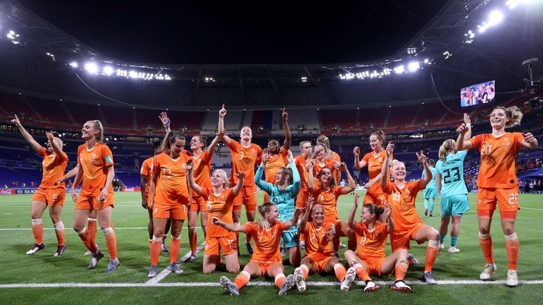 The Netherlands celebrate with their fans after reaching the Women's World Cup final