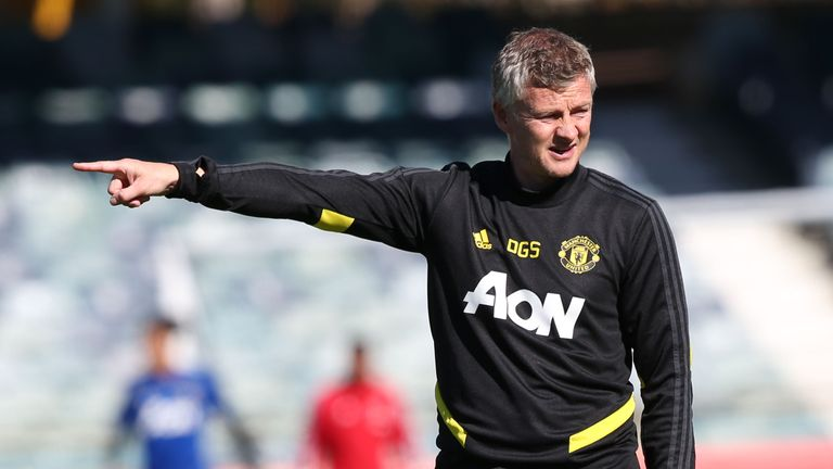 Ole Gunnar Solskjaer during a training session on Manchester United's pre-season tour of Australia