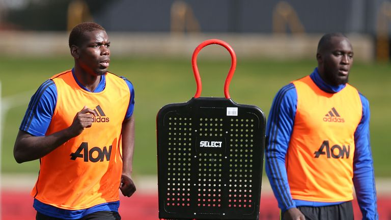 The focus was on Paul Pogba and Romelu Lukaku during Manchester United training