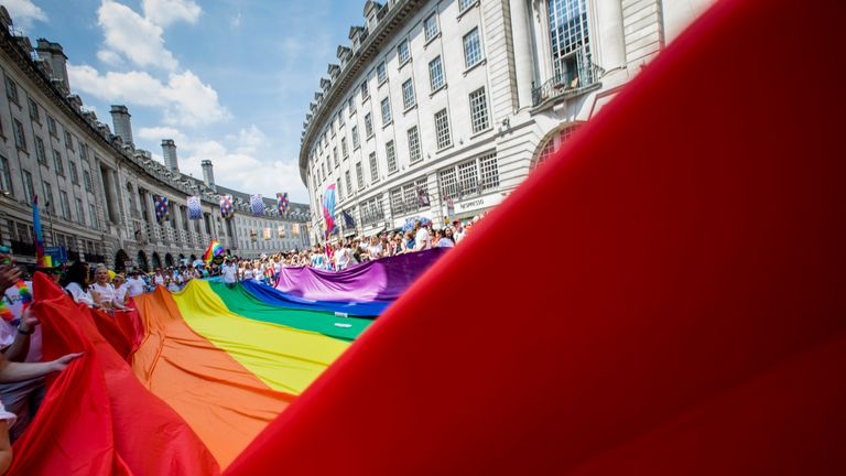 Around 30,000 people take part in the annual Pride in London parade, which attracts over a million spectators