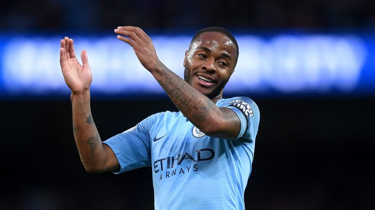 Raheem Sterling in action for Man City against Leicester