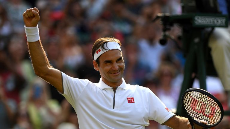 Roger Federer beat Kei Nishikori to record his 100th match win at Wimbledon