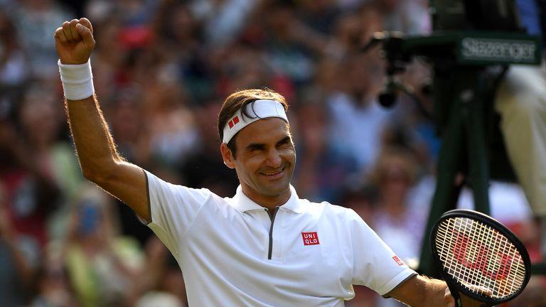 Roger Federer beat Kei Nishikori to record his 100th match win at Wimbledon