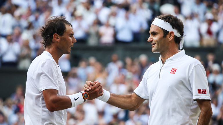 Nadal (L) lost in four-sets to Federer in this year's Wimbledon semi-final