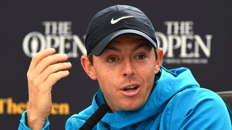 Rory McIlroy speaks to the media during a news conference on Wednesday