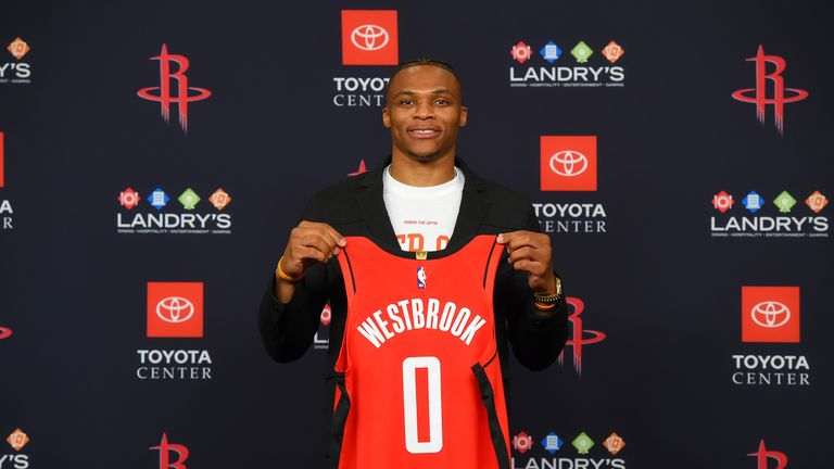 Russell Westbrook was unveiled as a Houston Rockets player on Friday