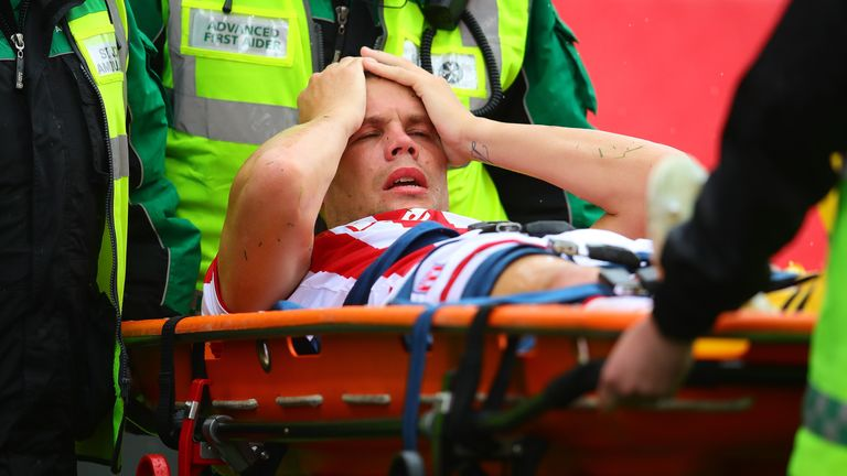 Stoke's Ryan Shawcross was carried off on a stretcher