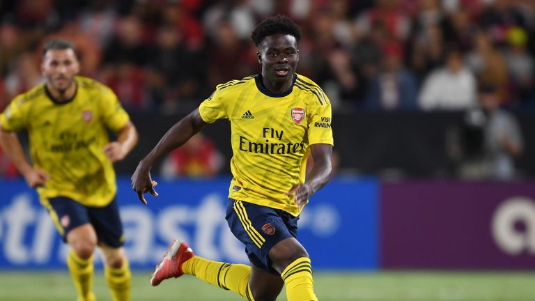 Bukayo Saka, who scored against Colorado Rapids earlier in the week, featured against Bayern