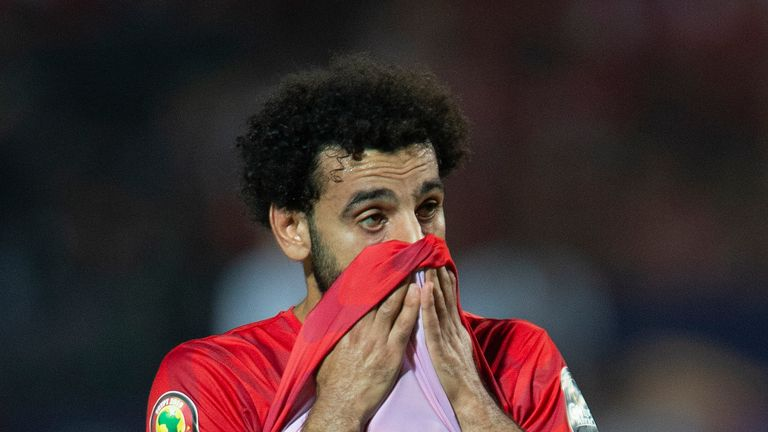CAIRO, EGYPT - JULY 06: Mohamed Salah of Egypt react after losing the 2019 Africa Cup of Nations Round of 16 match between Egypt and South Africa at Cairo International Stadium on July 6, 2019 in Cairo, Egypt. (Photo by Visionhaus)