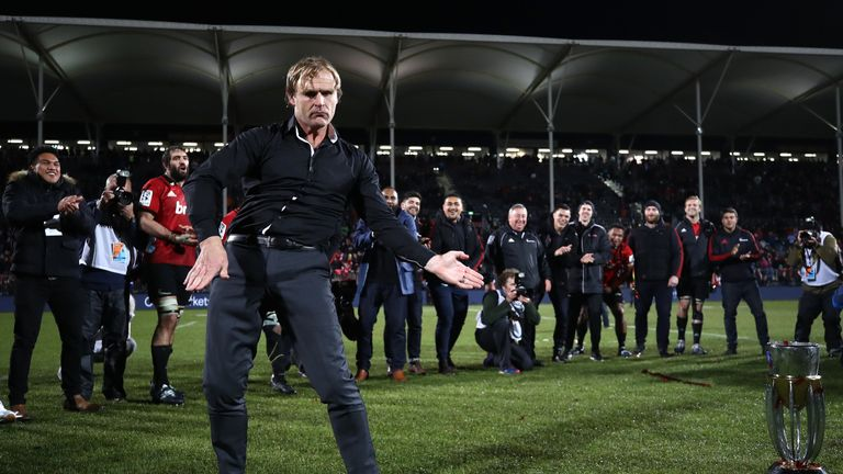 Scott Robertson busting a move after the Crusaders win the 2019 Super Rugby trophy