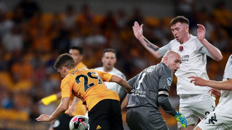 Ruben Vinagre pounces on Sean O'Neill's error to double Wolves' lead at the death