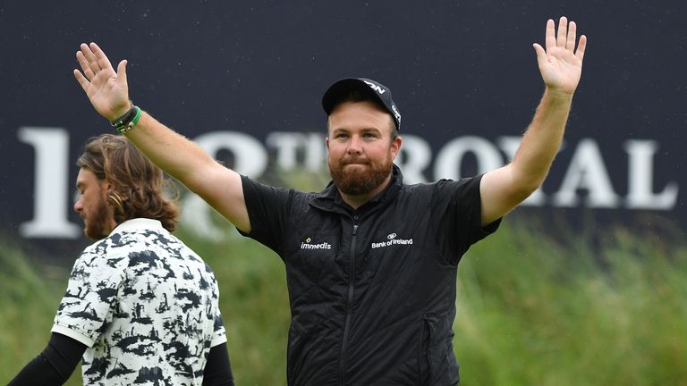 Ireland's Shane Lowry celebrates after winning the British Open golf Championships at Royal Portrush golf club in Northern Ireland on July 21, 2019.