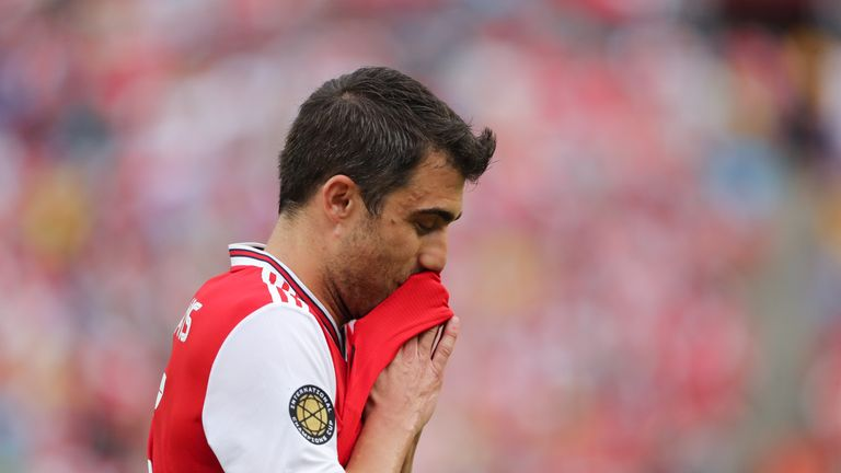 Sokratis was handed only the third red card of his professional career