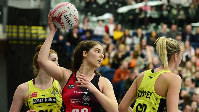 Bethan Goodwin at goal shooter for Strathclyde Sirens in the Vitality Netball Superleague