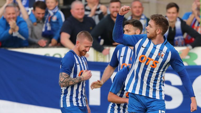 Stuart Findlay of Kilmarnock celebrates after scoring a last-gasp header