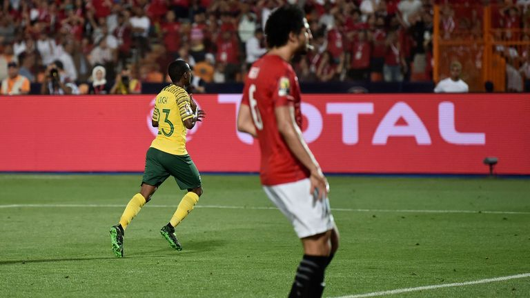 Thembinkosi Lorch wheels away after firing South Africa into the quarter-finals at the Africa Cup of Nations