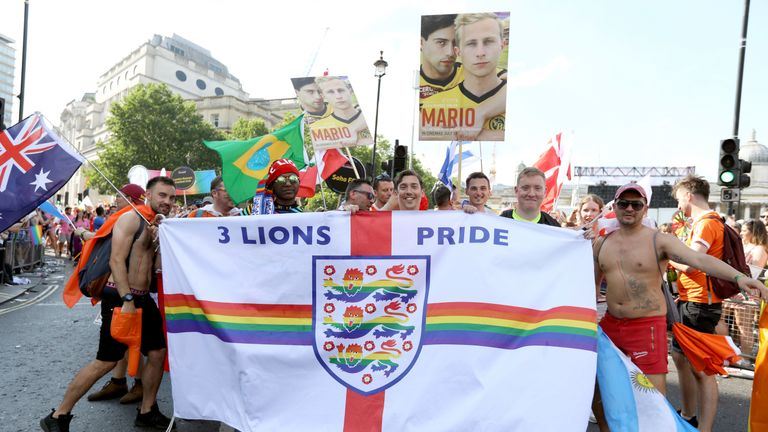 3 Lions Pride, the England national team supporters group for LGBT+ people and allies, were part of Pride in London in 2018