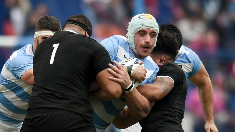 Tomas Lavanini carries the ball into contact for the Pumas