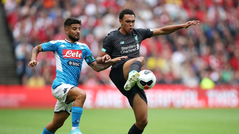 Lorenzo Insigne and Trent Alexander-Arnold battle for possession
