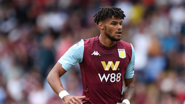 Tyrone Mings of Aston Villa during the Pre-Season Friendly match between Shrewsbury Town and Aston Villa at Montgomery Waters Meadow on July 21, 2019 in Shrewsbury, England.