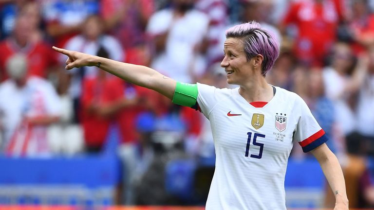 Megan Rapinoe celebrates her goal against Netherlands