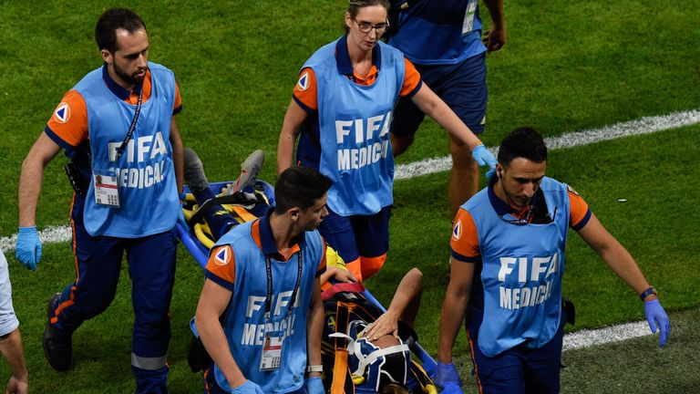 Sweden forward Kosovare Asllani was stretchered off towards the end of the game