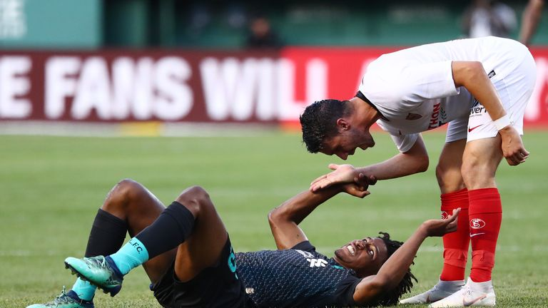 Yasser Larouci was stretchered off after a horror tackle left the youngster injured