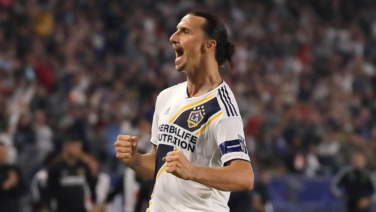 Zlatan Ibrahimovic of LA Galaxy celebrates after scoring a goal to make it 2-0 during the MLS match between Los Angeles Galaxy and Toronto FC at Dignity Health Sports Park on July 4, 2019 in Carson, California.