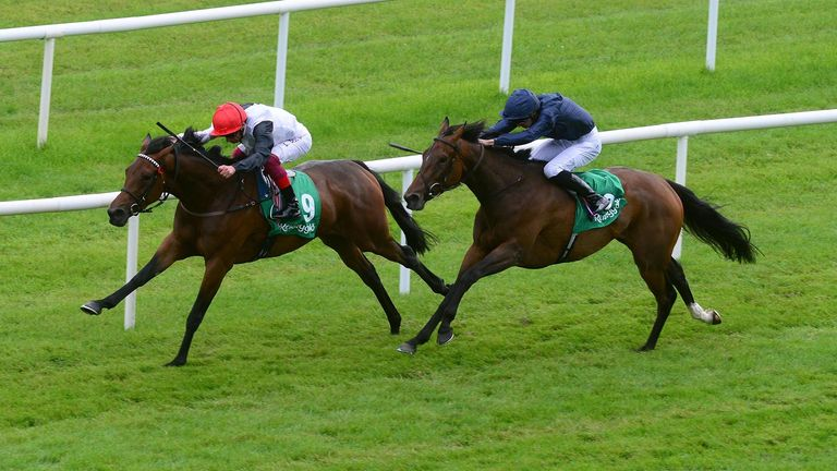 Star Catcher and Frankie Dettori (left) win the Kerrygold Irish Oaks at Curragh Racecourse, County Kildare. PRESS ASSOCIATION Photo. Picture date: Saturday July 20, 2019. See PA story RACING Curragh. Photo credit should read: PA Wire
