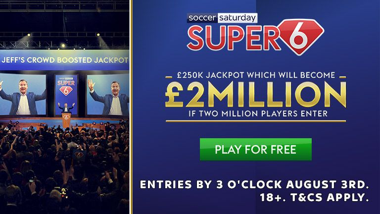 Play Super 6 for the chance to win Jeff Stelling's crowd-boosted jackpot