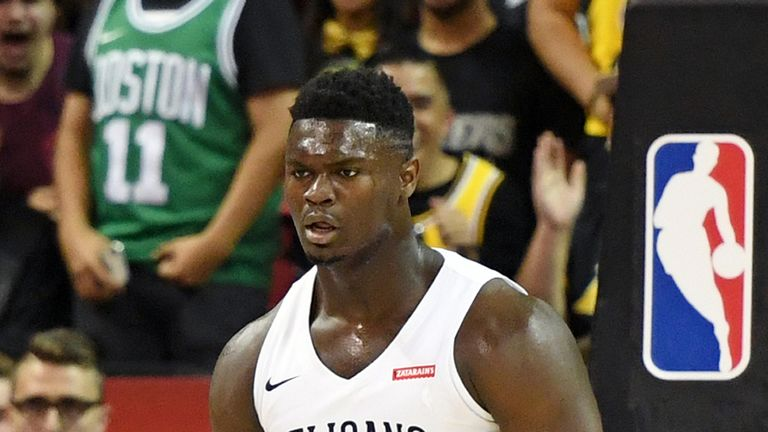 Zion Williamson in Summer League action for the Pelicans against the Knicks