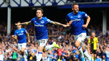 Bernard celebrates after giving Everton a first-half lead