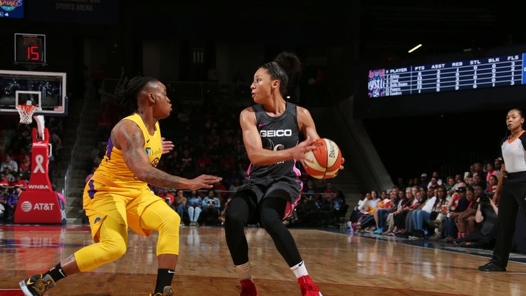 Aerial Powers looks to pass against the Los Angeles Sparks