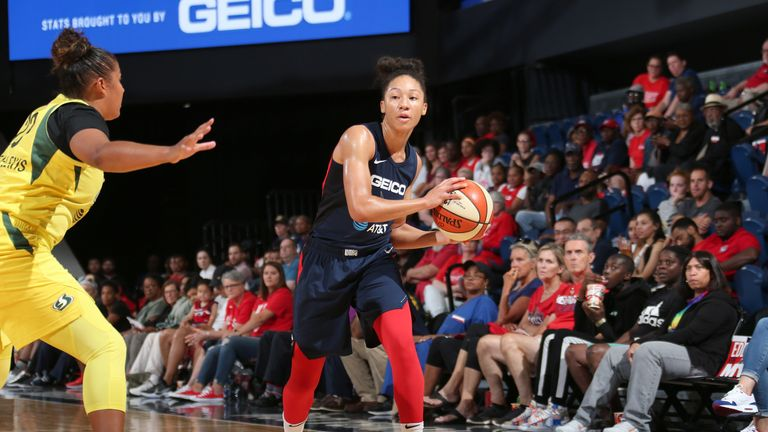 Aerial Powers looks to pass against the Seattle Storm