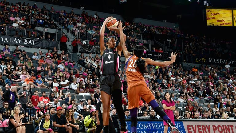 A'Ja Wilson launches a jump shot against the Phoenix Mercury