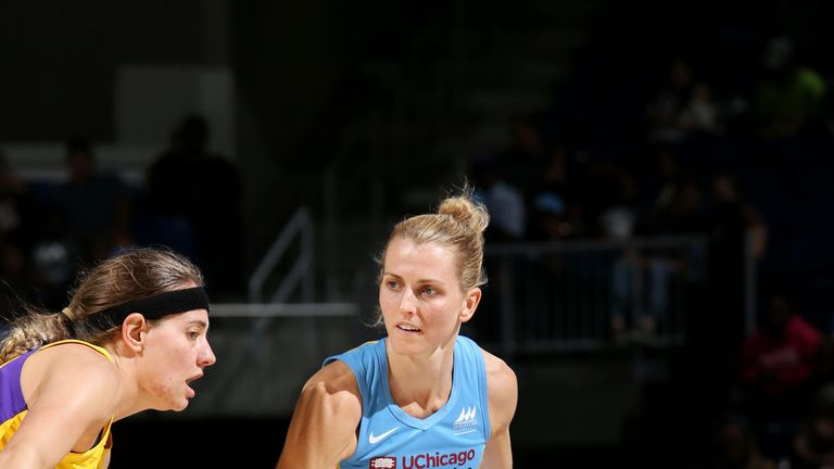 Allie Quigley handles the ball against the Los Angeles Sparks