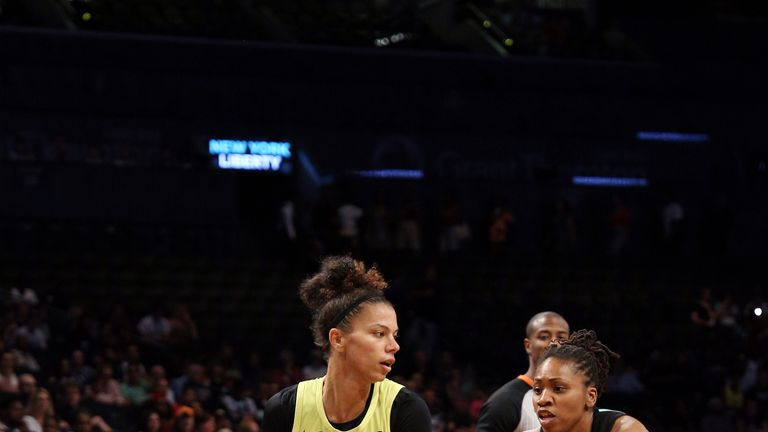 Alysha Clark handles the ball against the New York Liberty
