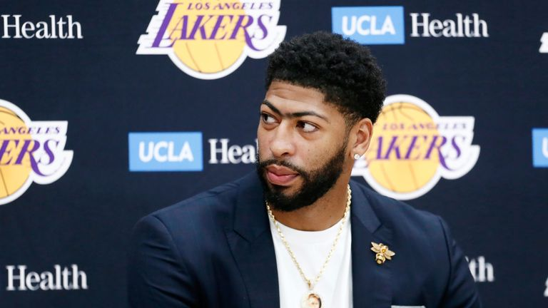 Anthony Davis meets the media at a Lakers news conference
