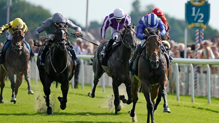 Jim Crowley riding Battaash to win the Coolmore Nunthorpe Stakes at York