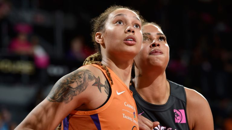 Brittney Griner and Liz Cambage compete for a rebound in the Aces' overtime win over Phoenix