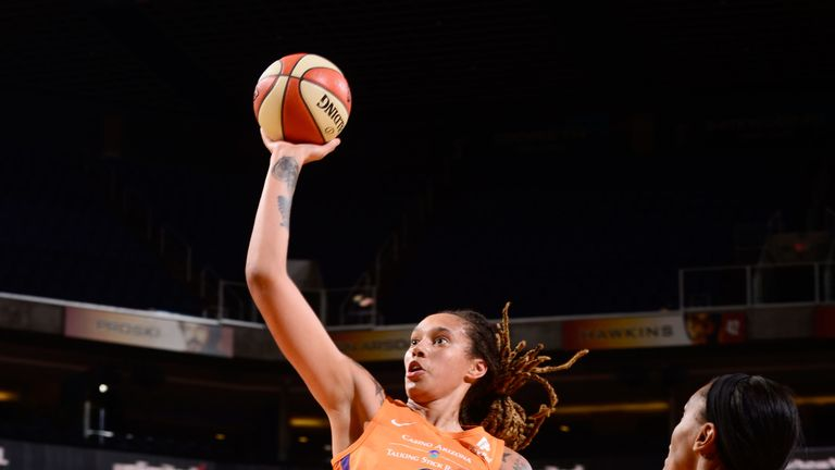 Brittney Griner rises to score against the Washington Mystics