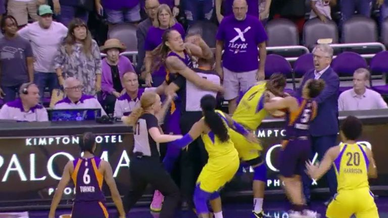 Brittney Griner sparks a multi-player brawl during the Phoenix Mercury's loss to the Dallas Wings