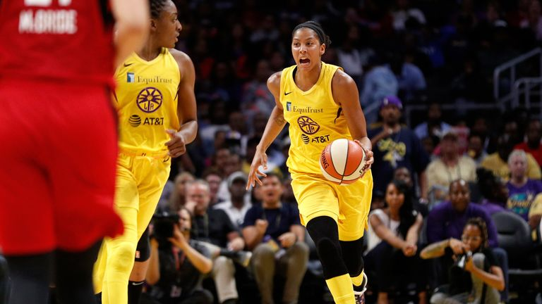 Candace Parker attacks in the Sparks' win over Las Vegas