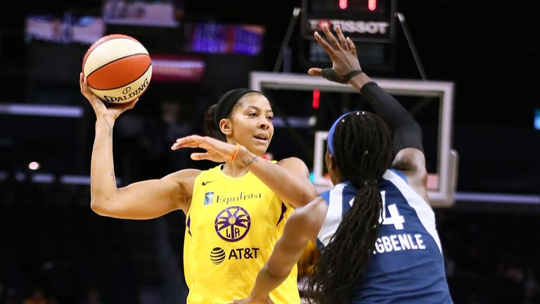 Candace Parker looks to find a team-mate against the Minnesota Lynx