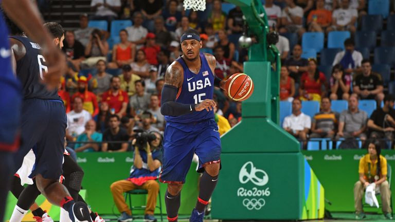 Carmelo Anthony in action for Team USA during the 2016 Olympic Games