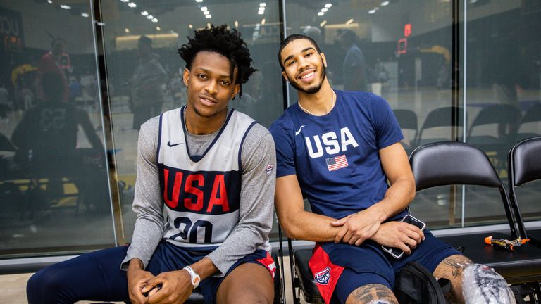 DeAaron Fox and Jayson Tatum pictured courtside at Team USA camp in El Segundo