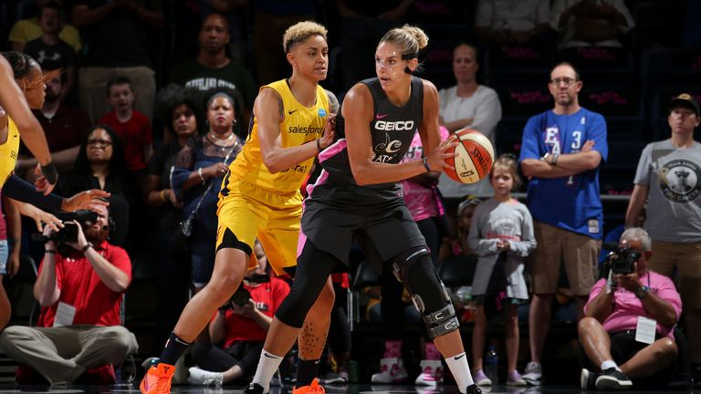 Elena Delle Done works in the post against the Indiana Fever