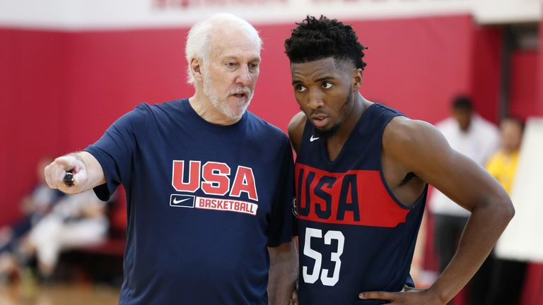Gregg Popovich offers advice to Donovan Mitchell at the USA Basketball Select camp