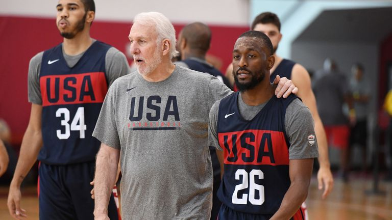 Gregg Popovich with Kemba Walker at the USA Basketball Select camp in Las Vegas